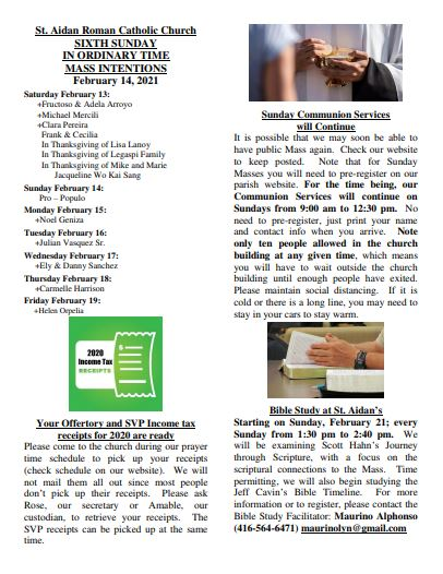 see our latest bulletin feb 14 2021