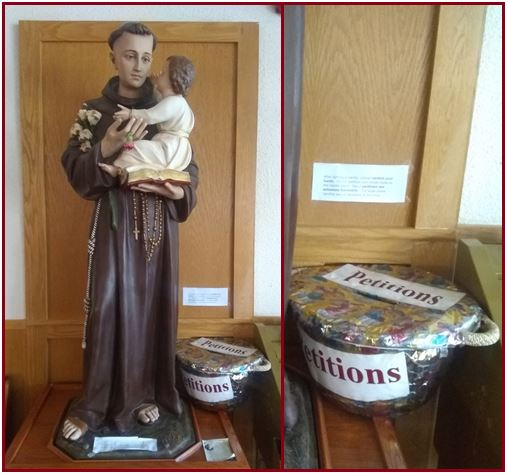 st anthony statue with petitions basket